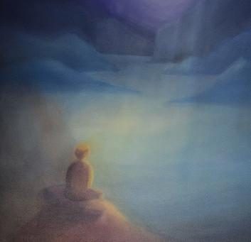 Meditierende Person - Ein Aquarellbild von Christopher Baumann