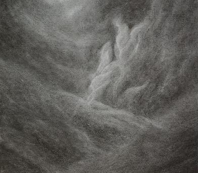 Finsternis vor und hinter dem Licht - Ein Kohlenbild von Christopher Baumann