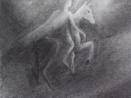 Pferd und Reiter - ein Kohlebild von Christopher Baumann