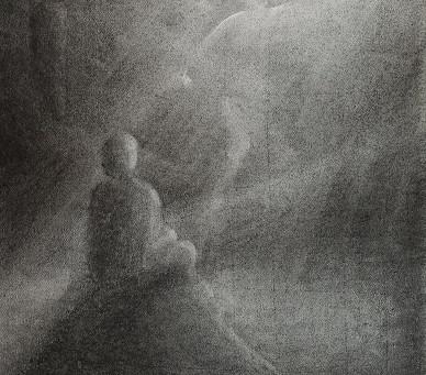 Begegnung mit Engel - Ein Kohlebild von Christopher Baumann