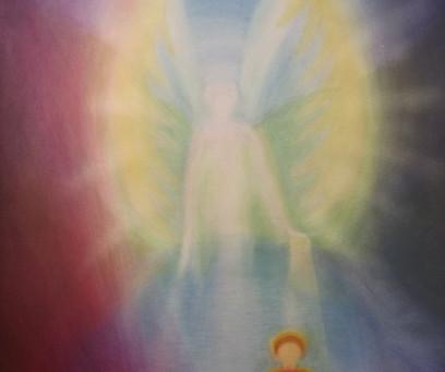 Kind und Engel - ein Aquarellbild von Christopher Baumann