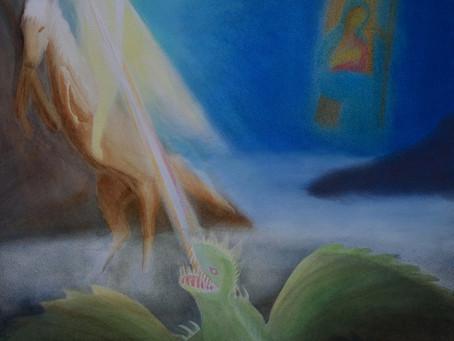 Sankt Georg - Aquarell und Pastell