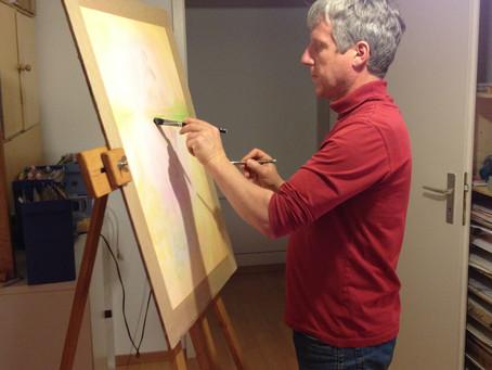 Christopher Baumann beim Malen.