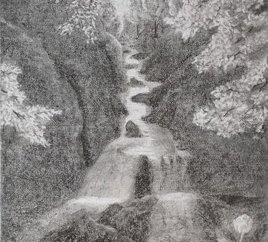 Bachlandschaft - ein Kohlebild von Christopher Baumann