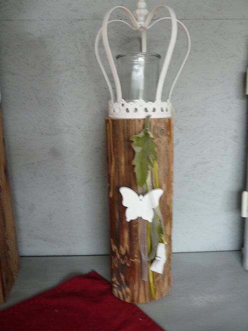Altholz Säule mit Krone und Kerzenglas
