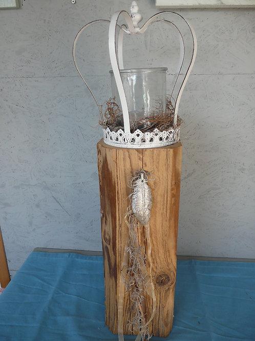 Altholz Säule mit Krone und Windlicht