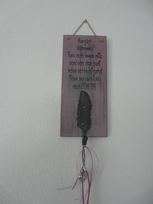 Spruchschild mit Federhaken ..Herzlich Willkommen..