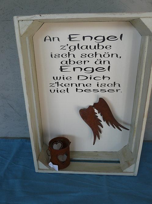 Alte shabby chic Holz Deko Kiste mit Spruch, dekoriert