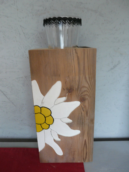 Altholz Säule mit Kerzenglas und Edelweiss