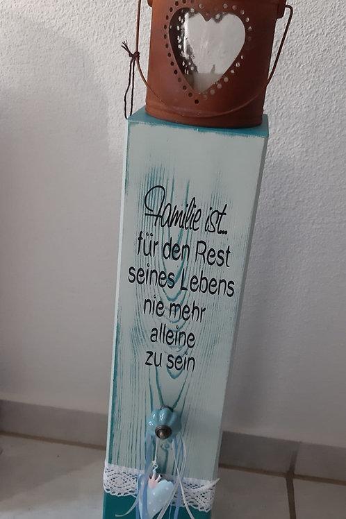 Holz Säule Aaregrün / Gletscherblau mit Spruch, Kerzenglas dekoriert