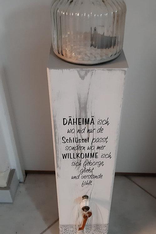 Holz Säule mit Spruch und Kerzenglas Weiss/Grau