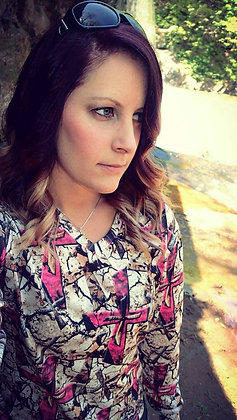 LS Ladies Pink Cross Country Camo V-neck Tshirt