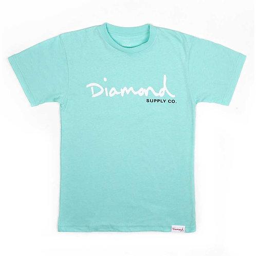 Diamond Supply Co. OG SCRIPT OVERDYE TEE TURQUOISE
