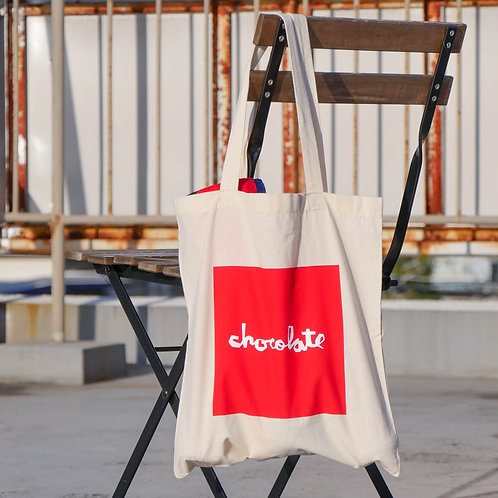 CHOCOLATE RED SQARE TOTE CANVAS/RED