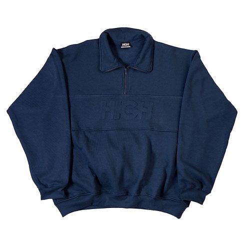 HIGH COMPANY Sweat Quarter Zipper Embossed Logo Navy