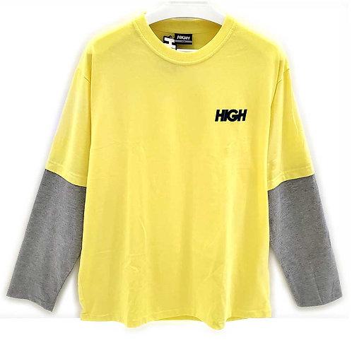 HIGH COMPANY Longsleeve Front Logo Yellow/Grey