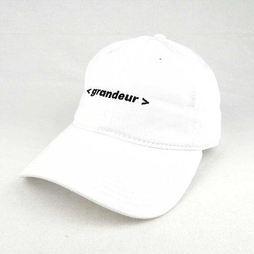 GRANDEUR text logo hat WHITE
