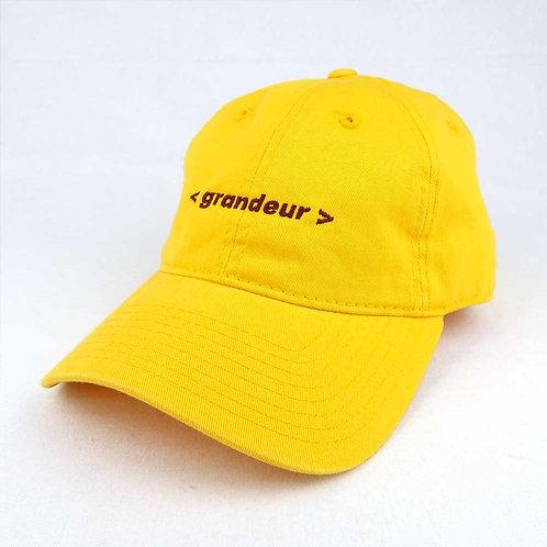 GRANDEUR text logo hat YELLOW