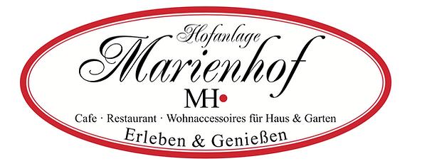 Marienhof Logo der Hofanlage. Es zeigt, dass es ein Cafe, Resaurant, Wohnacessoires für Haus und Garten gibt. Die Hofanlage befinde sich in Neustadt. Sie können hier genießen und Eerleben. Das ist das Zihen für den besten Kuchen in Ostholstein.