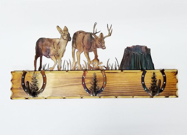 3 Hook Coat Rack with Mule Deer Scene