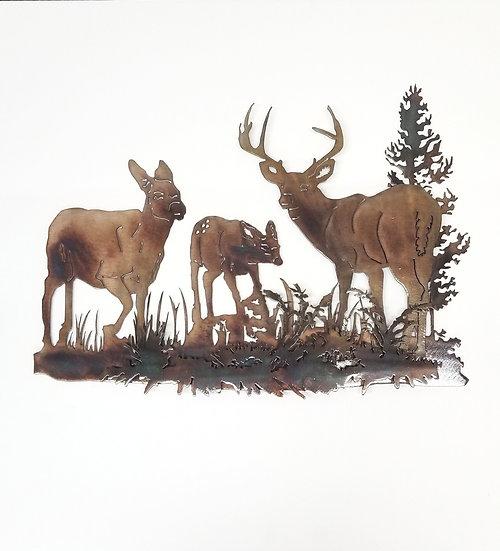 3D Deer Family