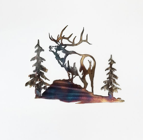 Small Bugling Elk & Trees
