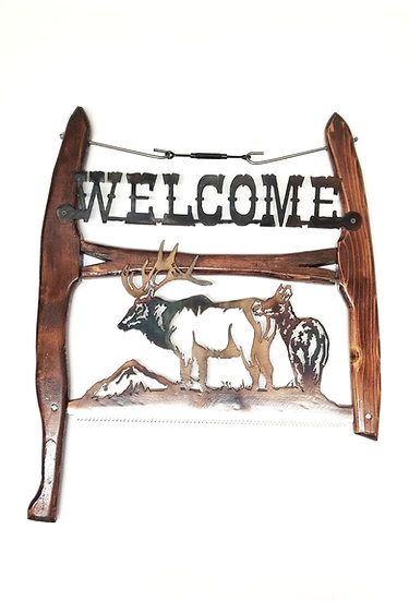 Bucksaw with Bull & Cow Elk
