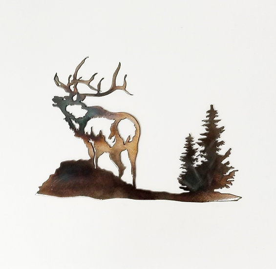 Bugling Elk with Trees