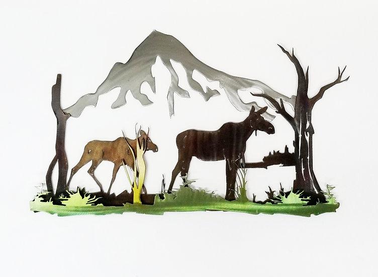 3D Cow & Calf Moose Scene