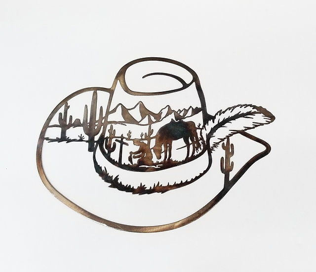 Cowboy Hat with Praying Cowboy Scene