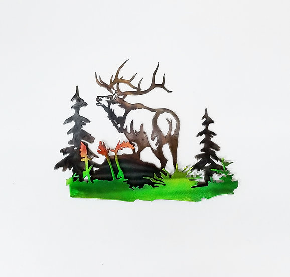 Bugling Elk with 3D Colored Brush
