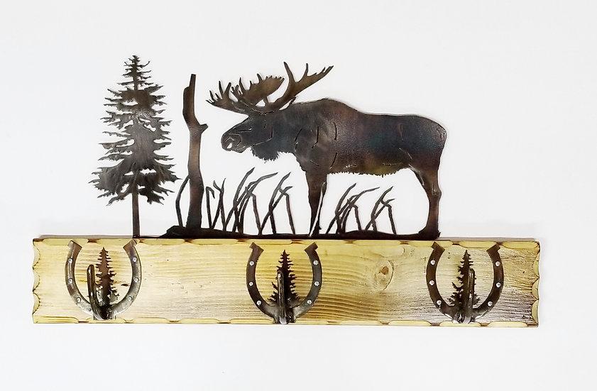 3 Hook Coat Rack with Bull Moose