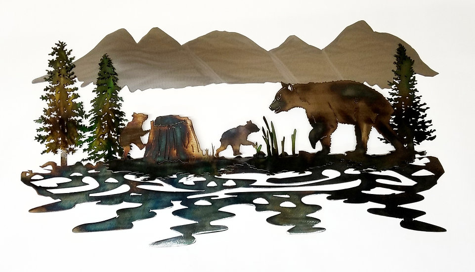 Mama Bear & Cubs 3D Wilderness Scene