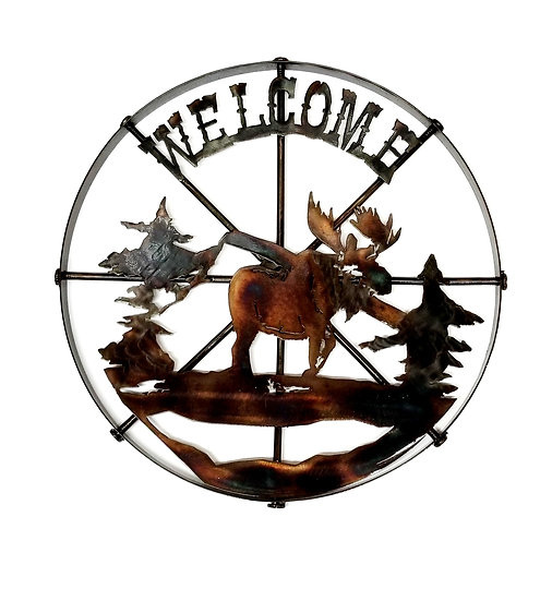 Small Wheel with Moose & Welcome