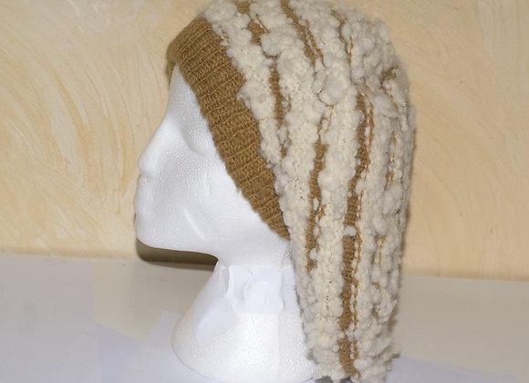 Bonnet blanc et beige 100% laine et 100% fait main,
