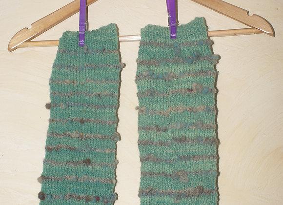 jambières tricot laine de pays vertes