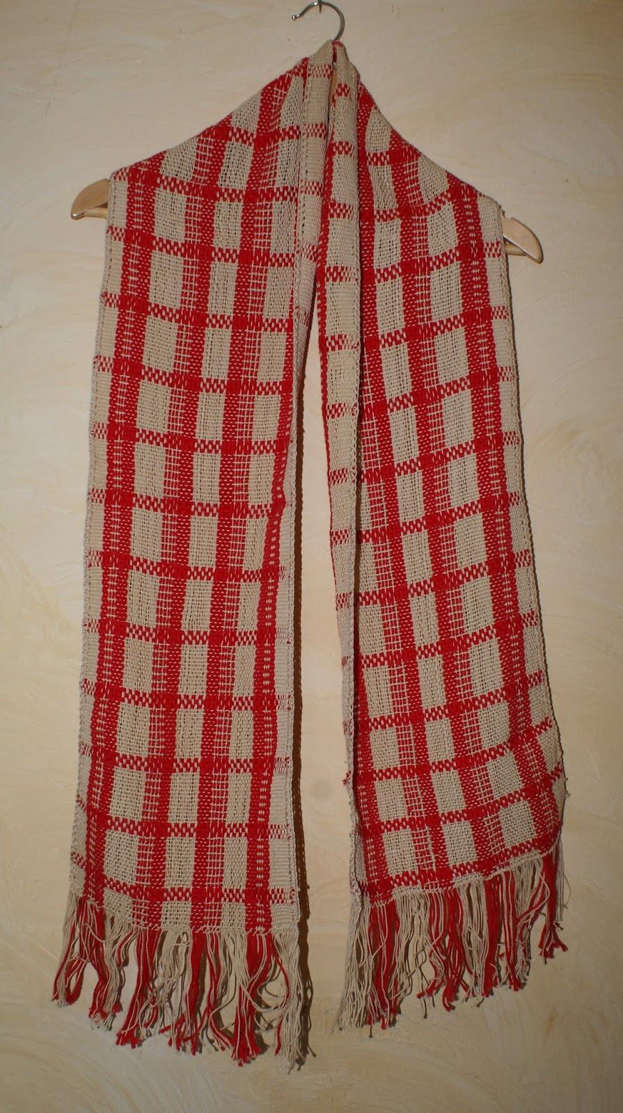 Echarpe coton beige et rouge