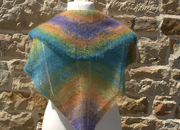 Châle mohair et soie et perles multicolore