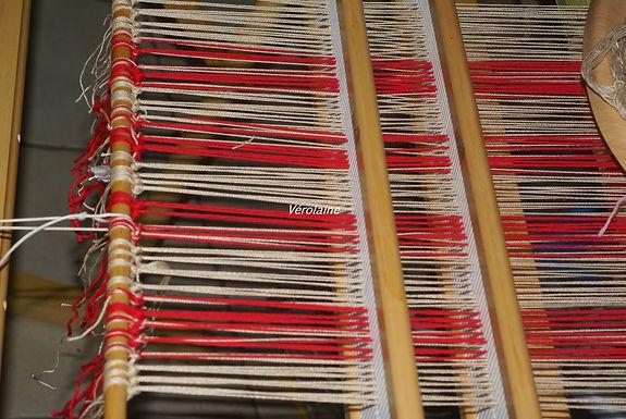 Echarpe tissée main 100% coton beige rouge