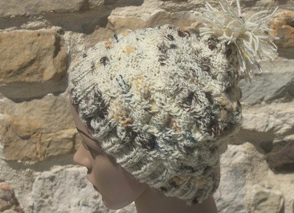 Bonnet laine de pays écrue, fantaisie imitation tweed