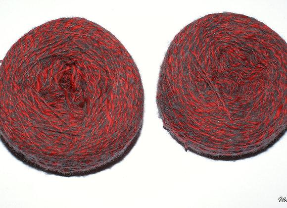 Mérinos dentelle rouge et gris chiné