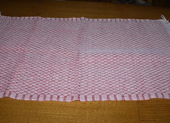 chemin de table rouge et blanc coton et lin
