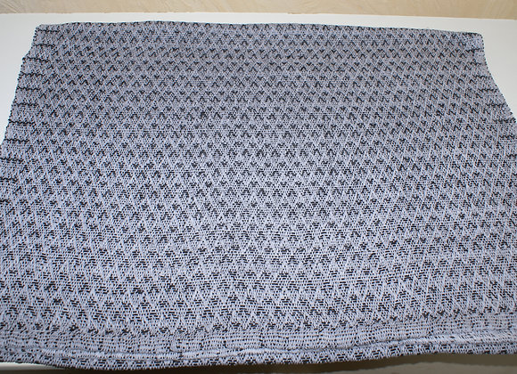Chemin de table noir et blanc-gris en coton et lin