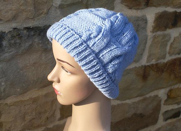 bonnet laine torsade bleue