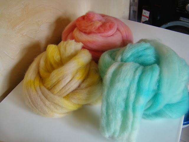 wool dyed red blue yellow food