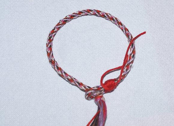 Bracelet cordon tissage japonais simple rouge rose marron