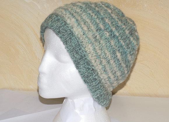 Bonnet 100% laine de pays turquoise et blanc fait main