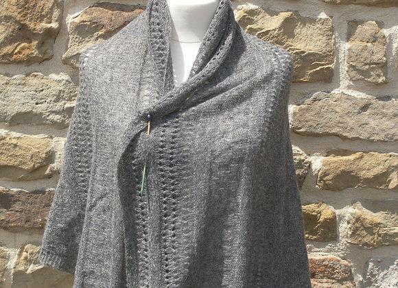grand châle gris laine alpaga