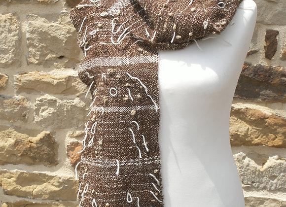 écharpe tissage alpaga marron et blanc