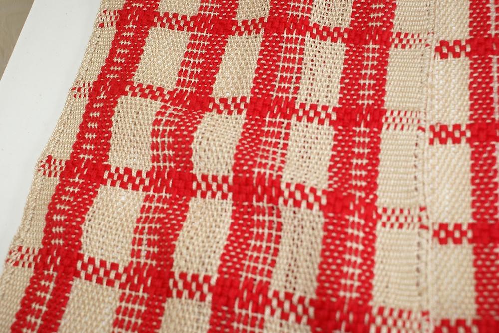 motif écharpe coton beige et rouge